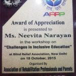 Award Appreciation presented Ms. Neevita Narayan Association Rehabilitation Pressionals Parents
